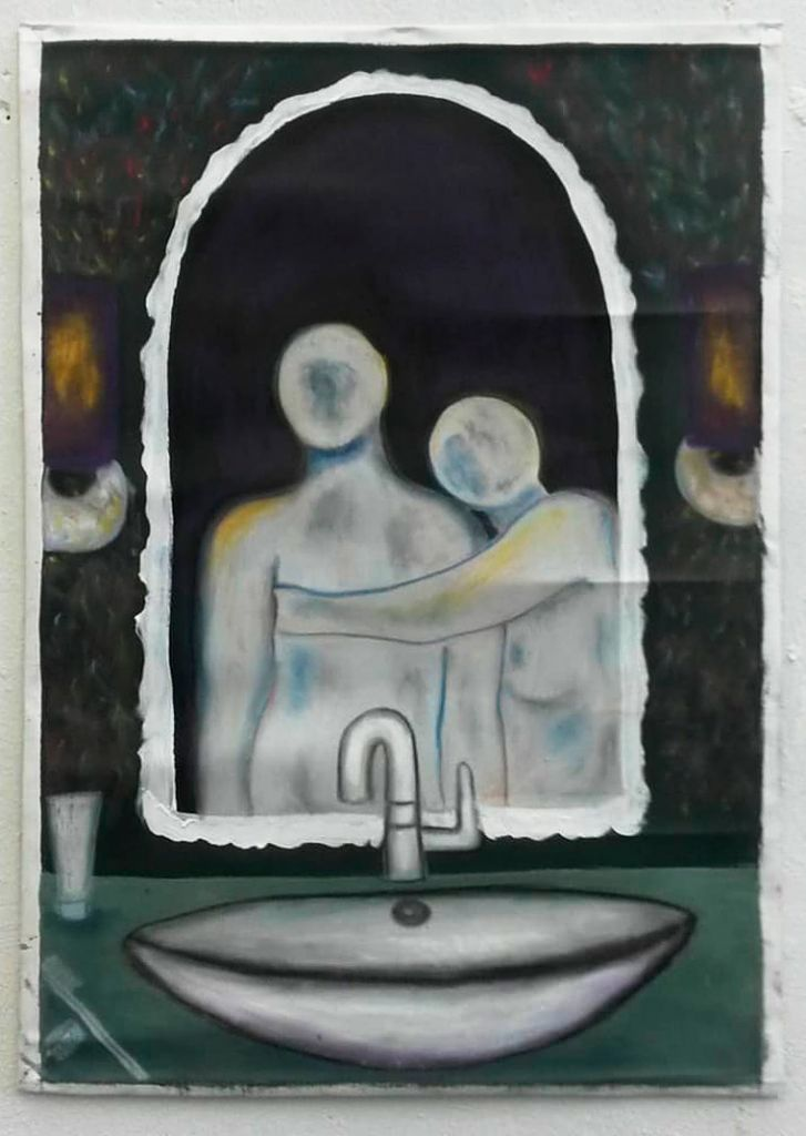 Mirror, subtitle: happily ever after, acrylic with oil pastell, 2020